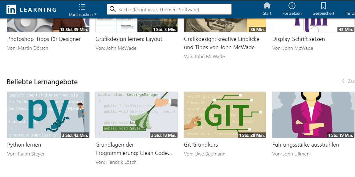 Kurse von LinkedIn Learning