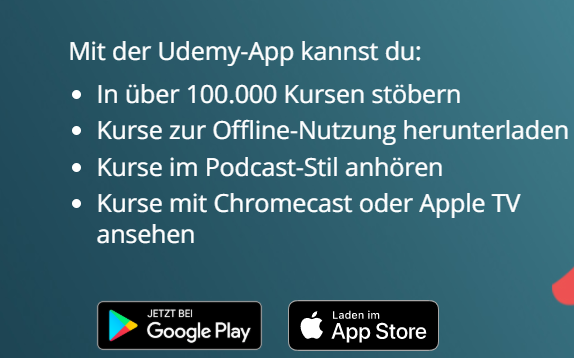 Udemy App Screenshot Android und App Store