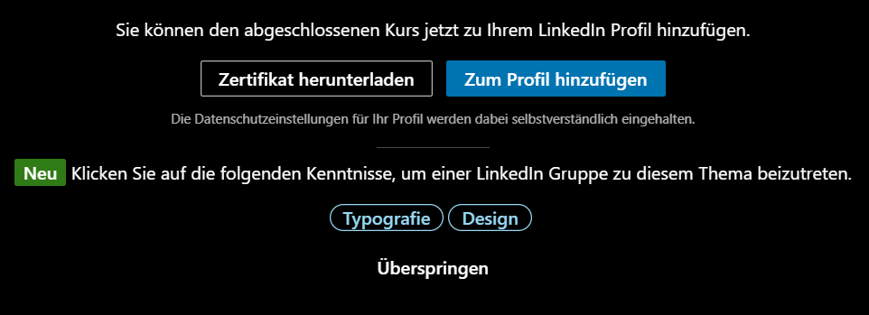 LinkedIn Learning Zertifikat Screenshot