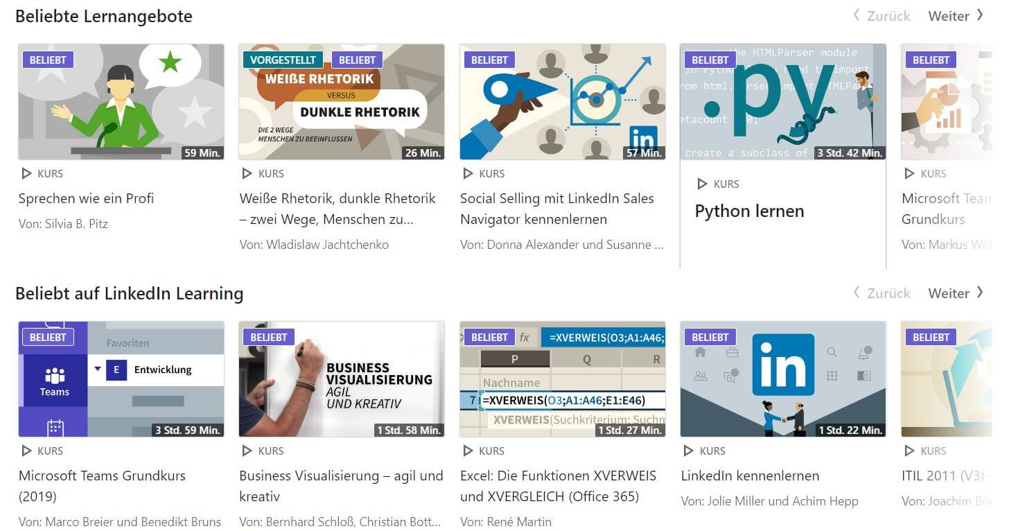 LinkedIn Learning Kurse Screenshot