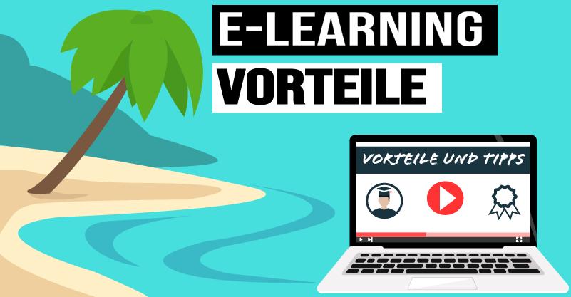 E-Learning Vorteile Strand und Laptop Bild