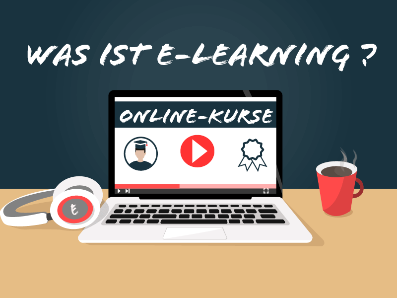 was ist e-learning laptop mit kaffee