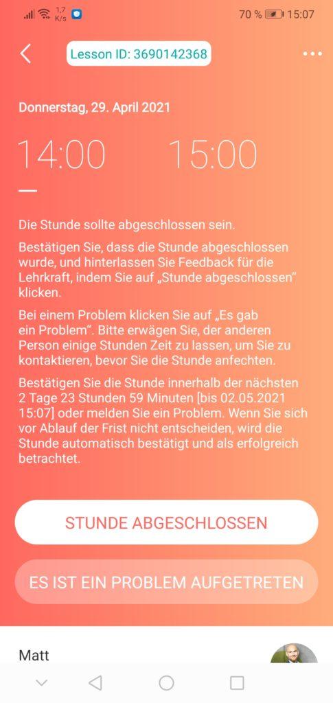 italki Stunde bestätigen Screenshot aus der App