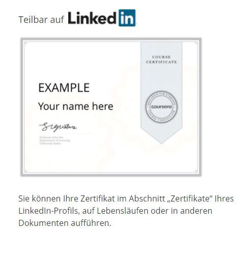 Coursera Zertifikat teilen auf LinkedIn, Screenshot