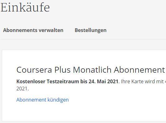 Coursera Abo kündigen vor Testzeitraum anleitung