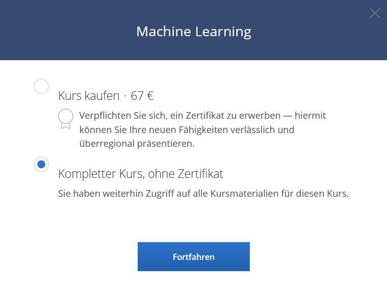 Coursera kostenlos an einem Kurs teilnehmen Screenshot