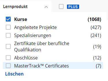 Coursera kostenlose Online-Kurse suchen filter
