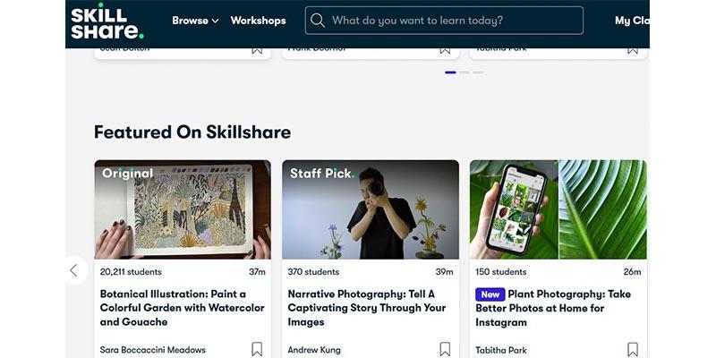 Skillshare Webseite Screenshot